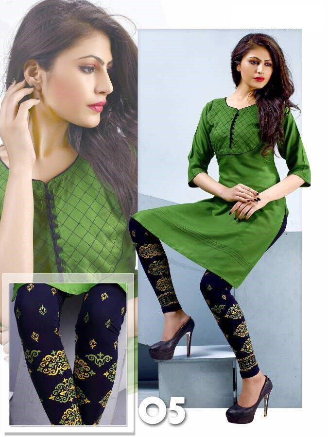 Green Rayon Kurti with printed Legging