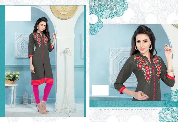 Grey Rayon Kurti with embroidery