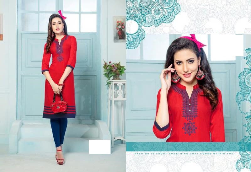 Festive Red Rayon Kurti with embroidery
