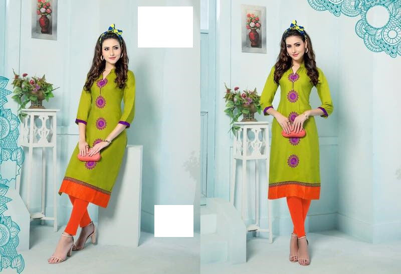 Parrot Green Rayon Kurti with embroidery