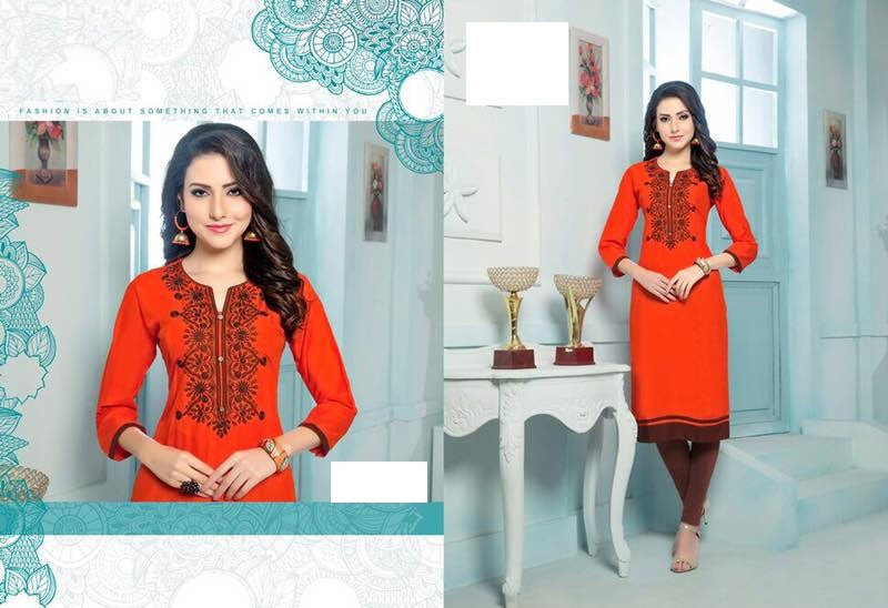 Orange Rayon Kurti with embroidery