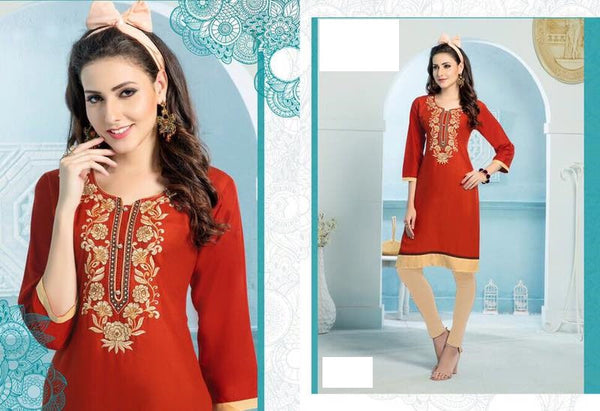 Red Rayon Kurti with embroidery