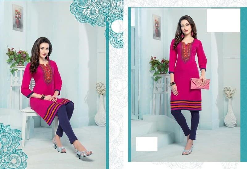 Deep Pink Rayon Kurti with embroidery