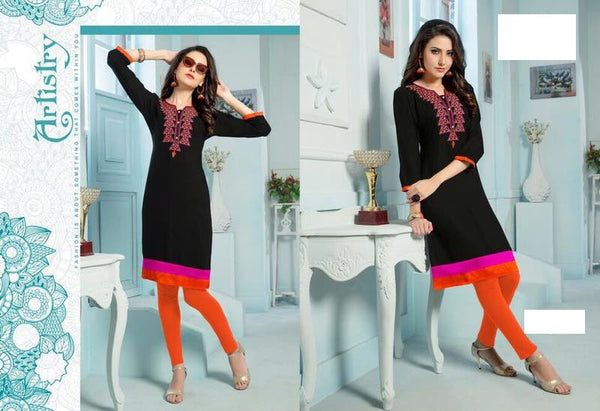 Black Rayon Kurti with embroidery