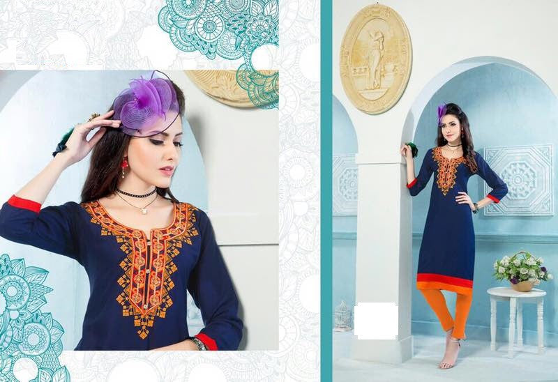Blue Rayon Kurti with embroidery