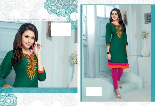 Green Rayon Kurti with embroidery