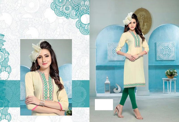 Cream Rayon Kurti with embroidery