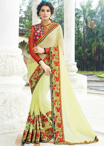 Designer Party wear Cream Saree with Stitched Blouse - Barbaracute - 4
