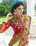 Designer Party wear Cream Saree with Stitched Blouse - Barbaracute - 2