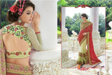 Designer Party wear Classic Yellow and Rust Red Saree with Stitched Blouse - Barbaracute - 2