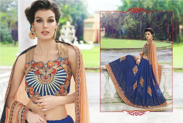 Designer Party wear Royal Blue and Peach Saree with Stitched Blouse - Barbaracute - 2