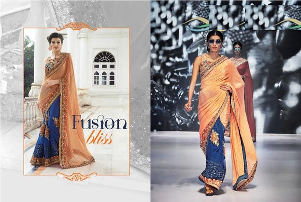 Designer Party wear Royal Blue and Peach Saree with Stitched Blouse - Barbaracute - 3