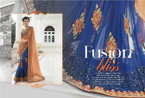 Designer Party wear Royal Blue and Peach Saree with Stitched Blouse - Barbaracute - 1