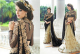 Designer Party wear Cream and Black Saree with Stitched Blouse - Barbaracute - 1