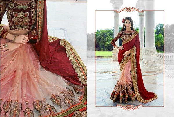 Designer Party wear Peach and Maroon Saree with Stitched Blouse - Barbaracute - 2