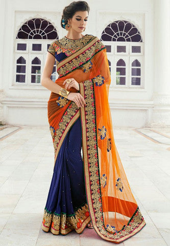 Designer Party wear Peacock blue and Orange Saree with Stitched Blouse - Barbaracute - 2