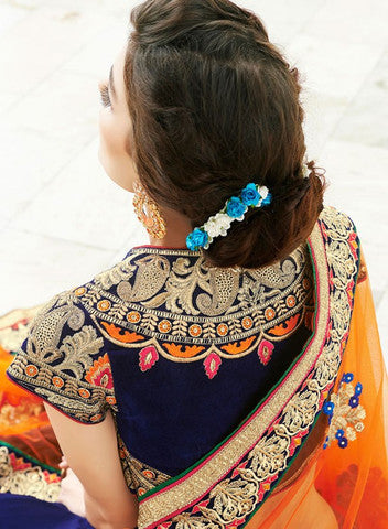 Designer Party wear Peacock blue and Orange Saree with Stitched Blouse - Barbaracute - 3