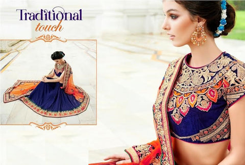Designer Party wear Peacock blue and Orange Saree with Stitched Blouse - Barbaracute - 1