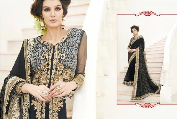 Designer Party wear Dazzling Black Saree with Stitched Blouse - Barbaracute - 2