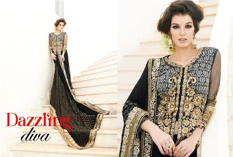 Designer Party wear Dazzling Black Saree with Stitched Blouse - Barbaracute - 1