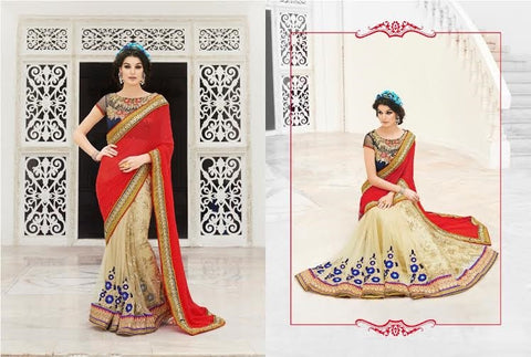 Designer Party wear Classic Cream and Tomato Red Saree with Stitched Blouse - Barbaracute