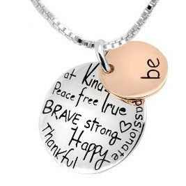 "Two-Tone ""Be"" Graffiti Inspirational Charm Necklace Silver Rose Gold Plated Pendant Necklace - Barbaracute - 1"
