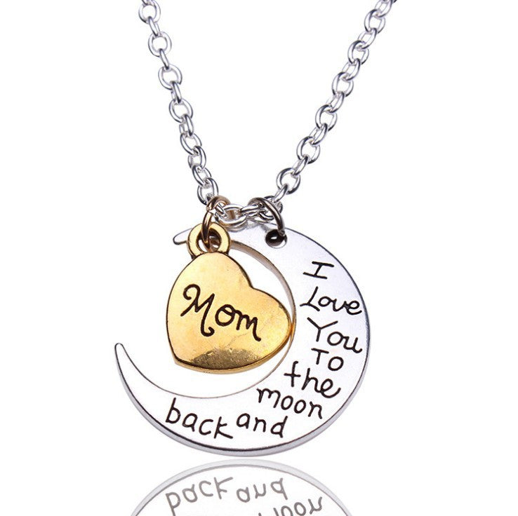"Two-Toned Antique Silver Gold Flashed Heart Family Members ""I Love You To The Moon and Back"" Pendant Necklace - Barbaracute"