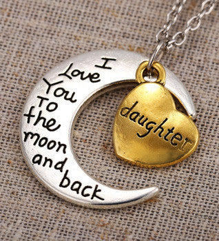 "Two-Toned Antique Silver Gold Flashed Heart Family Members ""I Love You To The Moon and Back"" Pendant Necklace (Daughter) - Barbaracute"