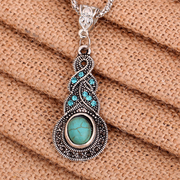 Turquoise Pendant Chain Necklace - Barbaracute - 2