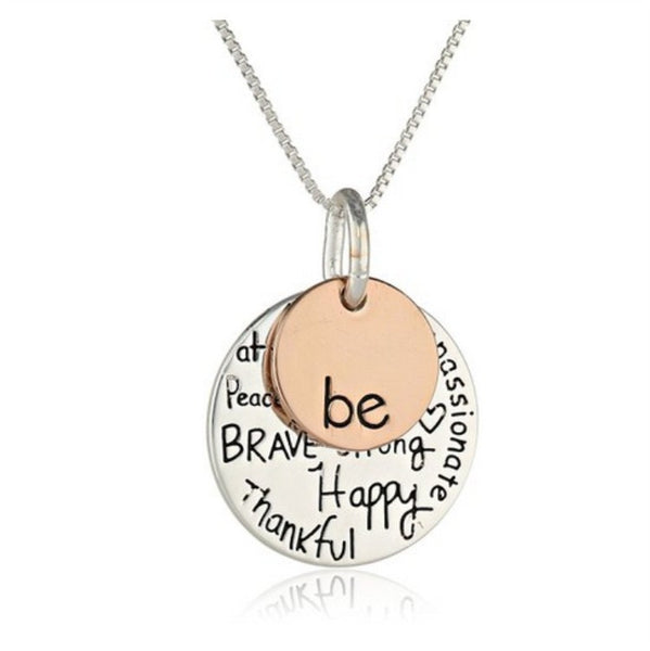 "Two-Tone ""Be"" Graffiti Inspirational Charm Necklace Silver Rose Gold Plated Pendant Necklace - Barbaracute - 2"