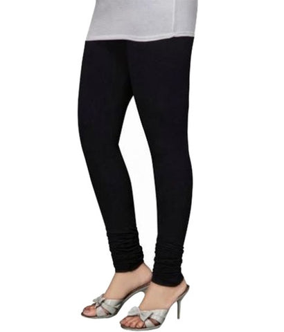 Black Cotton Lycra Stretchable Churidar Leggings - Barbaracute