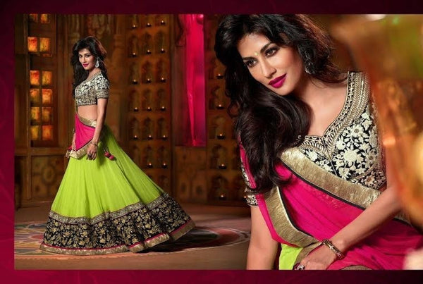 Chitrangada Singh Style Designer Bollywood Green Georgette Lehenga Choli - Barbaracute - 2