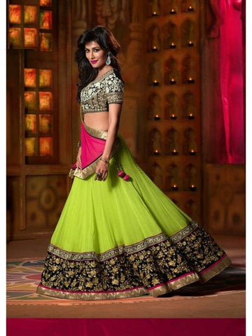 Chitrangada Singh Style Designer Bollywood Green Georgette Lehenga Choli - Barbaracute - 1