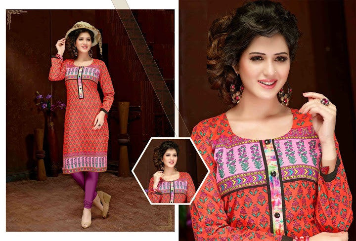 Designer Cotton Print Long Style Kurtis - Barbaracute