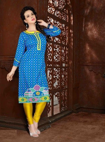 Designer Cotton Print Long Style Kurtis(Blue) - Barbaracute