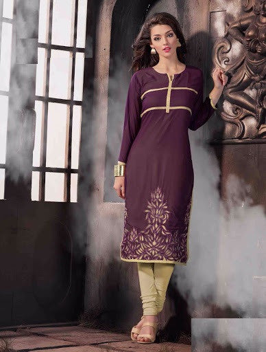 Maroon and Beige Rich Designer Readymade Georgette Kurti - Barbaracute