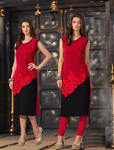 Red and Black Rich Designer Readymade Georgette Kurti - Barbaracute