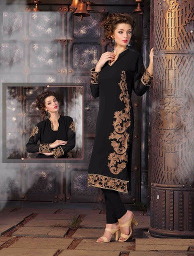 Black Rich Designer Readymade Georgette Kurti - Barbaracute