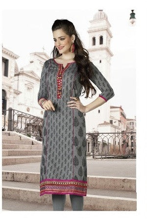 Grey Pink Designer Readymade Cotton Kurti - Barbaracute