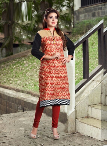 Red Leaves Printed Designer Readymade Cotton Kurti - Barbaracute