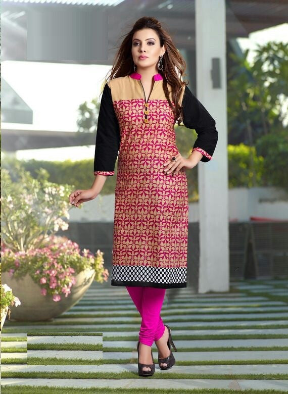 Pink Leaves Printed Designer Readymade Cotton Kurti - Barbaracute