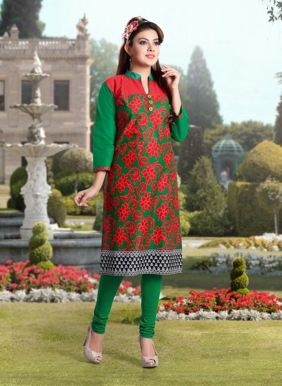 Green & Red Designer Readymade Cotton Kurti - Barbaracute