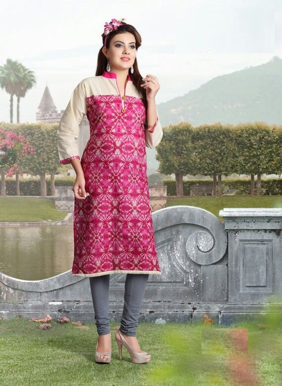Pink Printed Designer Readymade Cotton Kurti - Barbaracute