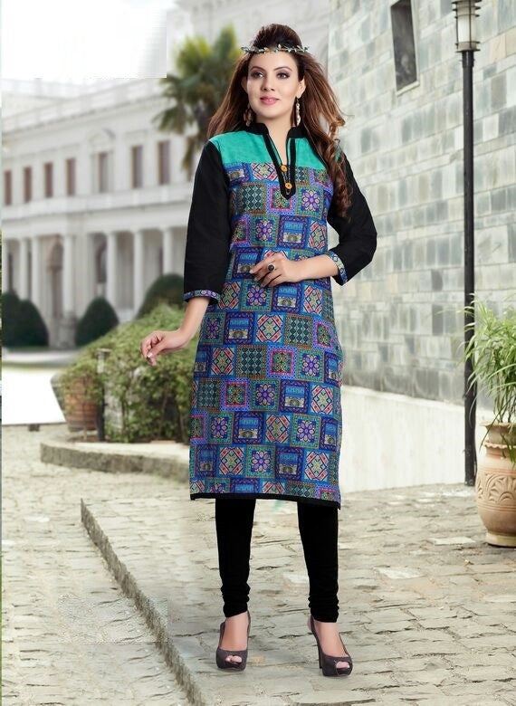 Blue Square Printed Designer Readymade Cotton Kurti - Barbaracute