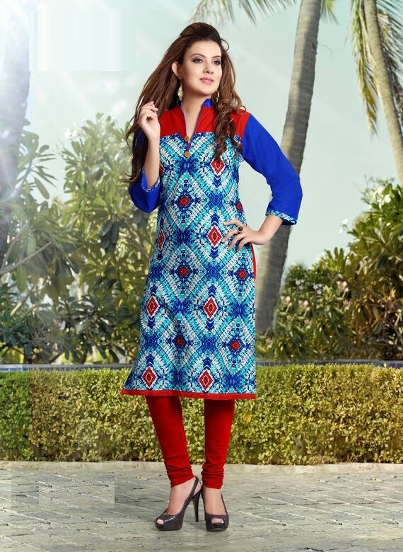 Multicolor Printed Designer Readymade Cotton Kurti - Barbaracute