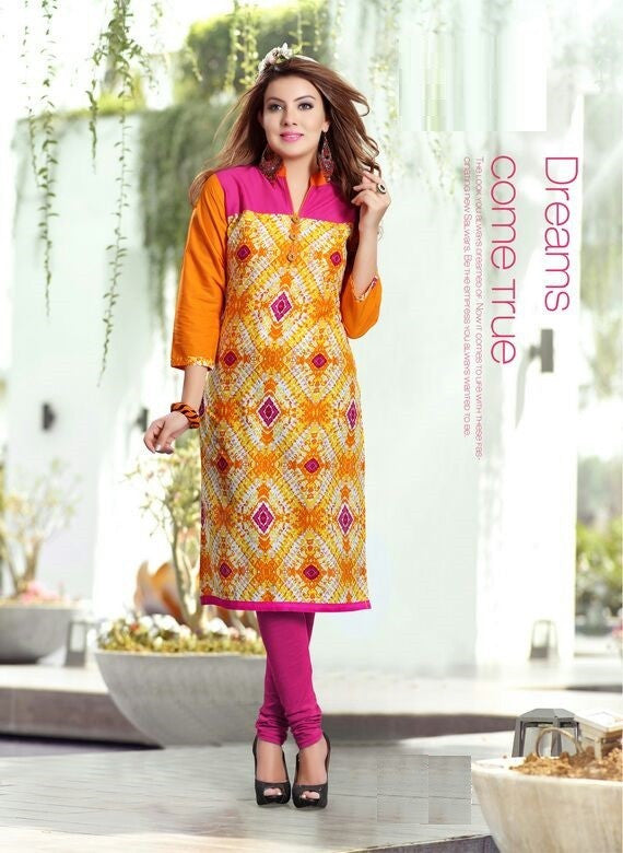 Orange & Pink Printed Designer Readymade Cotton Kurti - Barbaracute