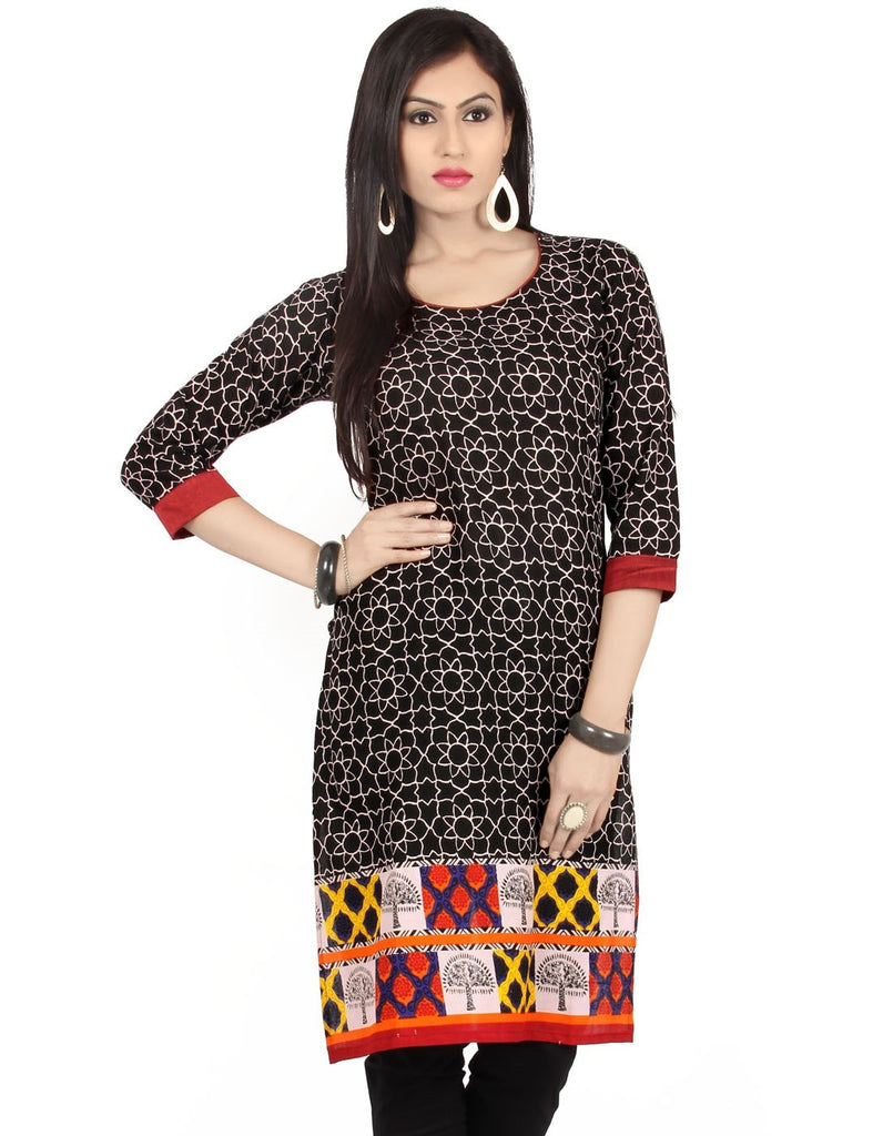 Cotton Kurti - Black - Barbaracute