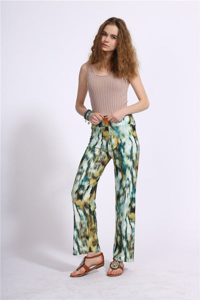 Women High Waist Printing Straight Pants