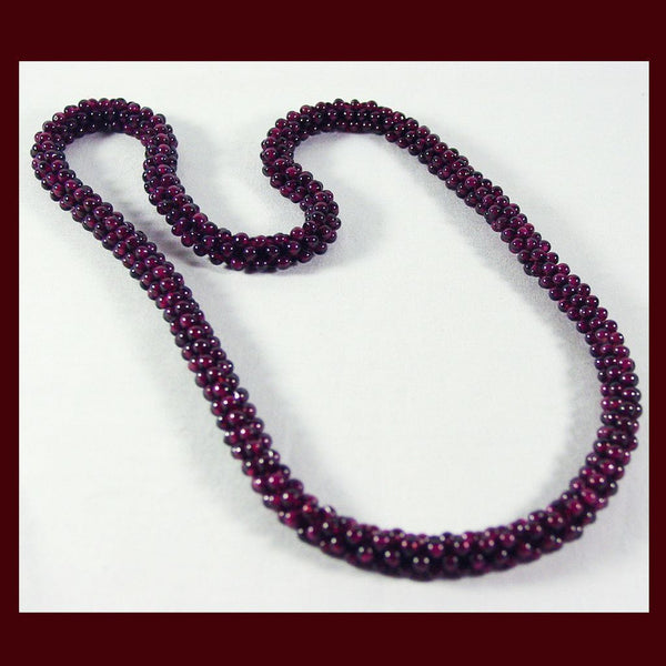 Genuine Natural Red Garnet Interwoven Cluster Bead Necklace - Barbaracute - 1