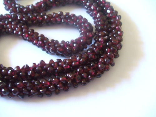 Genuine Natural Red Garnet Interwoven Cluster Bead Necklace - Barbaracute - 3